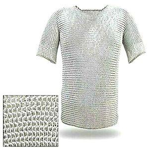 Medieval Aluminium Chainmail Shirt,Tshirt Armour Haubergen,Costlay Costume Shirt