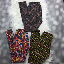 Lot of 3 Lularoe Leggings Womens One Size Multi-color Floral Geometric Print