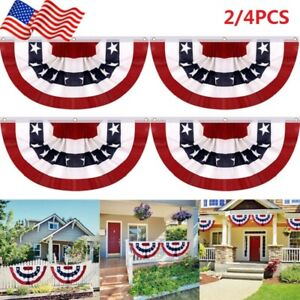4 Packs American Fan Flags Pleated USA Bunting Flag 1.5*3ft for Independence Day