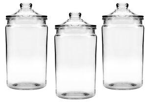 Anchor Hocking Set Of 3 Small Glass Jars w Lid 473ml Heritage Hill Storage Jars
