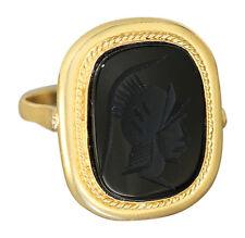 Goldring 750 Siegelring mit Gemme aus Onyx Römerkopf Ring Gold 18 kt