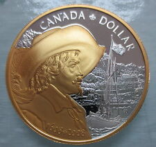 2008 CANADA FOUNDING OF QUEBEC PROOF SILVER DOLLAR GOLD PLATED