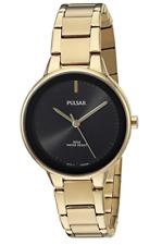 NWOT Ladies Pulsar PRS676 Gold Tone Stainless Steel Black Dial Watch