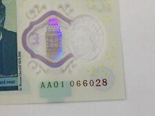 Cinq Pound Note polymère 2nd plus bas en série sur ebay. AA01 066028 RARE NOTE