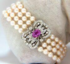 "12.00 Carat Round & Pearl Fresh Water Women's Bracelet 14K White Gold Over 7"""