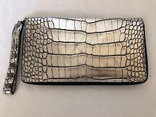 AMBROSI ABRIANNA Crocodile Clutch Wallet Bag Handbag   Metallic Silver / Black