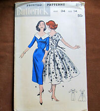 CAPE COLLARED DRESS Slim Full Size 14 Vintage Sewing Pattern Butterick 8112