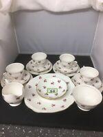 Duchess Tea Set For 4 Persons Trios Cake Plate, Milk Jug, Sugar Bowl Ditsy Rose