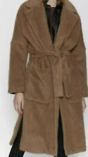 Zara  New Faux Fur Camel Coat With Belt Small