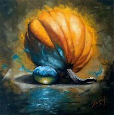 Oil On Canvas Pumpkin Magic Grape Still Life Original Signed Handmade Painting