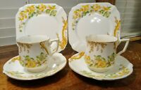 Vintage Bell China Tea Cup, Saucer & Plate Trio Yellow & Green Flowers England