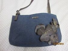 XOXO Handbag- NEW Jean Shoulder Bag with Brown Leather Flowers