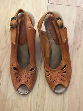 Vintage 1970s Peep Toe Wedges Barley Cut Out Slingback Sandals Heels Connie 8.5