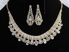 Gold W. Clear Rhinestone Crystal Necklace and Earrings Set
