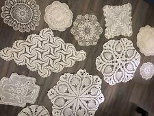 Vintage Handmade Doilys 11 Doily Crochet Lot White & Ivory's