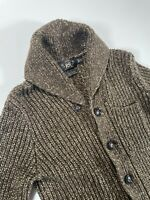 MINT RRL Cardigan Shawl Collar Sweater Size XXS Brown Cotton Linen