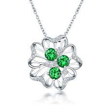 14Kt White Gold Diamond 1.235ct Natural Tsavorite Wedding Gemstone Pendant