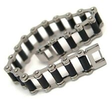 Motorcycle Chain Bracelet Black Rubber Surgical Stainless Steel 8.5 inches Biker