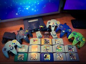 NINTENDO 🔥ULTRA-64 BUNDLE🔥 Console + 5 Controllers + 13 N64 Games Zelda Mario