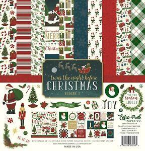 Christmas Eve Santa Sleigh Reindeer Tree Echo Park Scrapbook Page Kit 12 x 12