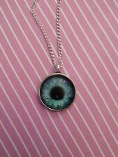Collar De Ojo azul de cristal de taxidermia cabochon cameo Goth Steampunk Plata