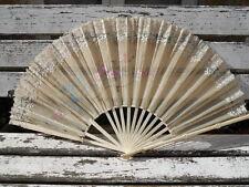 Ancien grand éventail façon bambou , à restaurer , 35 cm