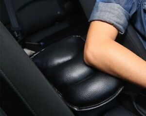 1Pcs Armrest Console Box Soft Pad Cover Cushion Black Leather For Any Car