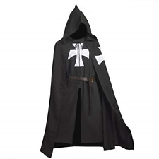 BLESSUME Medieval Templar Knights Costume Tunic with Cloak and Belt Black1