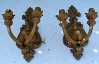 "stunning pair of French antique sconces bronze light 12"" deco loft barn cabin"