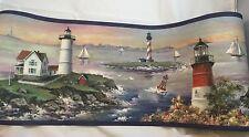 Lighthouse Coastline Sailing Seashore Border New 5 Yard Village 5811210 3 Rolls