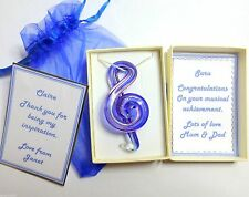 Thank You Gift Music Teacher Treble Clef Glass Necklace Congratulation Student