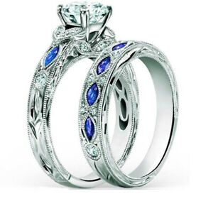 Couple Rings Blue Titanium Steel Men Ring Band Round CZ Womens Wedding Ring Sets