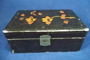 Vintage Ebonised Wooden Jewellery Box with Hand-painted Flowers Trinket Storage