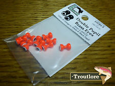 HARELINE DOUBLE PUPIL BRASS EYES ORANGE LARGE - NEW FLY TYING MATERIALS