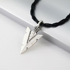 Silver Alloy Native American Arrowhead Pendant Black Tribal Choker Necklace NEW