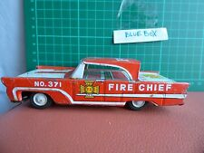 Vintage MANSEI HAJI FIRE CHIEF LINCOLN Car Friction Toy Metal Tin PLATE Japan
