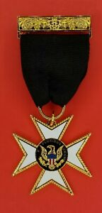 KNIGHTS TEMPLAR ORDER OF MALTA W TOP BAR & RIBBON  (KT OM-2BR)