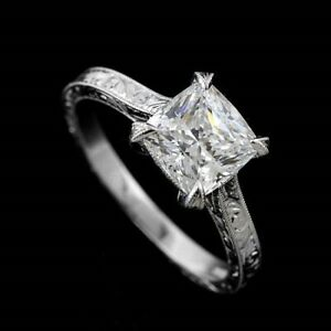 Square Cushion 14k Gold Hand Engraved Crafted Engagement Ring Setting No Stone