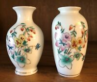 VINTAGE SMALL WHITE FLORAL PORCELAIN WITH GOLD TRIM BUD VASES MADE IN CHINA TWO