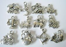 Set of 12 Antique Silver Zodiac Charms, Jewelry Making Supplies, Charms  (1077)