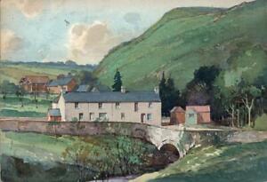 WALTER THOMAS (1894-1971) Watercolour Painting VILLAGE LANDSCAPE WALES c1944