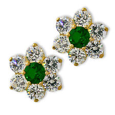 FLOWER EMERALD/WHITE SAPPHIRE SCREW BACK EARRINGS 14K YELLOW OR WHITE GOLD