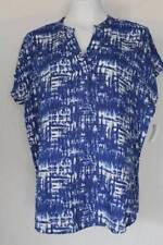 NEW Womens Casual V-Neck Top Size Medium Ladies Shirt Blue Blouse Soft Rayon