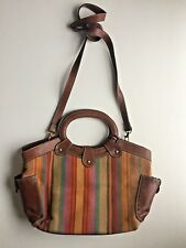 Fossil Fabric and Leather Large Cross Body Tote Purse. Multi-Color Stripe.