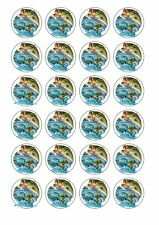 24 x FISHING FISH Wafer Rice Paper Cupcake Toppers EDIBLE CAKE DECORATIONS BASS