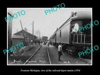 OLD LARGE HISTORIC PHOTO OF FREMONT MICHIGAN, THE RAILROAD DEPOT STATION c1910