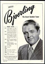 1948 Jussi Bjoerling Bjorling photo opera singing recital tour booking trade ad