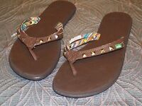 New Womens SANUK Gilded Girl Brown Studded Flip Flop Beach Sandals