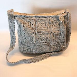 The Sak Crochet Hobo Gray Shoulder Bag