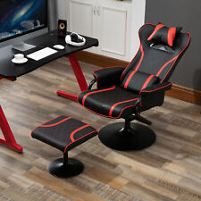 Racing Style Swiveling Recliner with Ottoman Set Ergonomic Gaming Chair